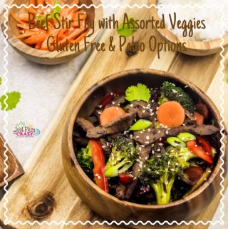 Beef Stir fry with Assorted Veggies Recipe (GLUTEN FREE AND PALEO OPTIONS) #NationalGlutenFreeDay