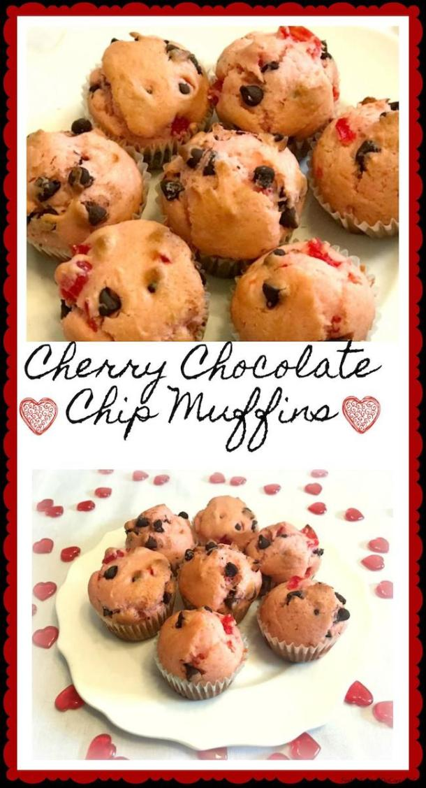 This recipe for Cherry Chocolate Chip Muffins creates moist muffins that are the perfect color to celebrate with your Valentine.