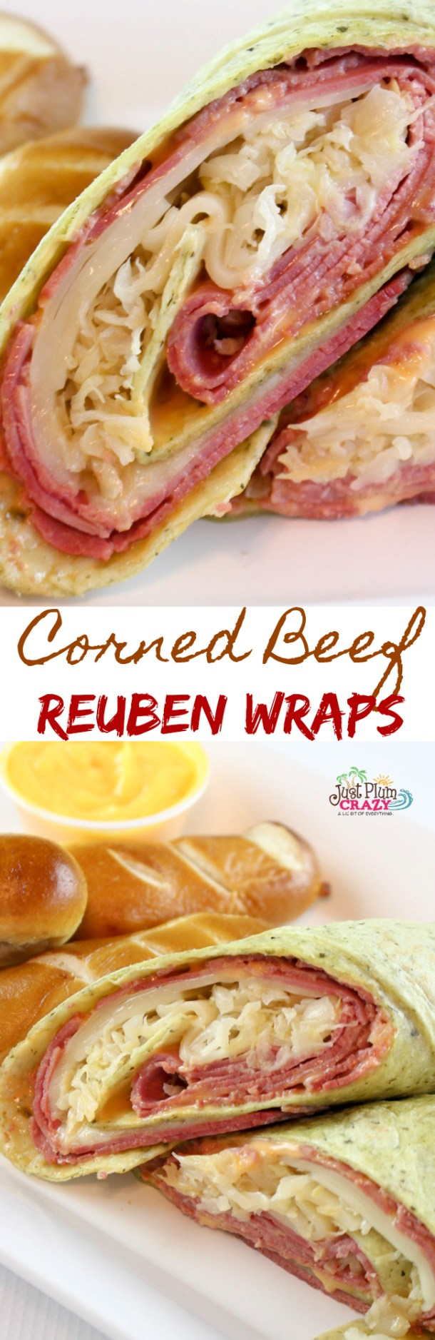 As we celebrate National Hot Pastrami Sandwich Day, I realized that I don't have any Pastrami sandwich recipes. But Corned Beef is a close second isn't it? We have an easy Corned Beef Reuben Wraps recipe | PlumCrazyAboutCoupons.com