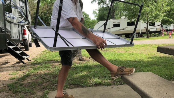 """A sturdy, stable camping table that measures 47"""" x 23.5"""" and weighs only 10 lbs. making it the perfect addition to our RV without the extra weight."""