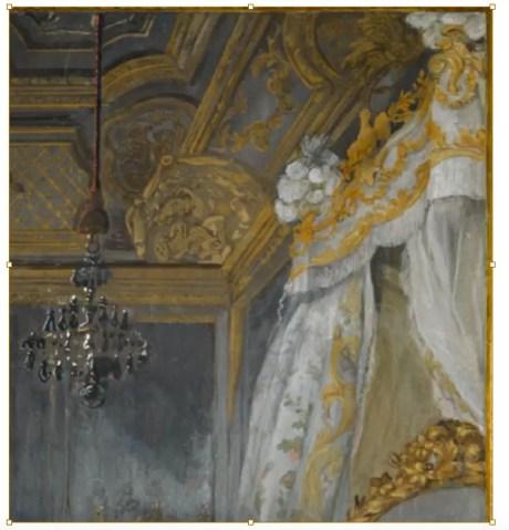 Détail du portrait de Marie-Antoinette jouant de la harpe, peinte par Jean-Baptiste Gauthier-Dagoty