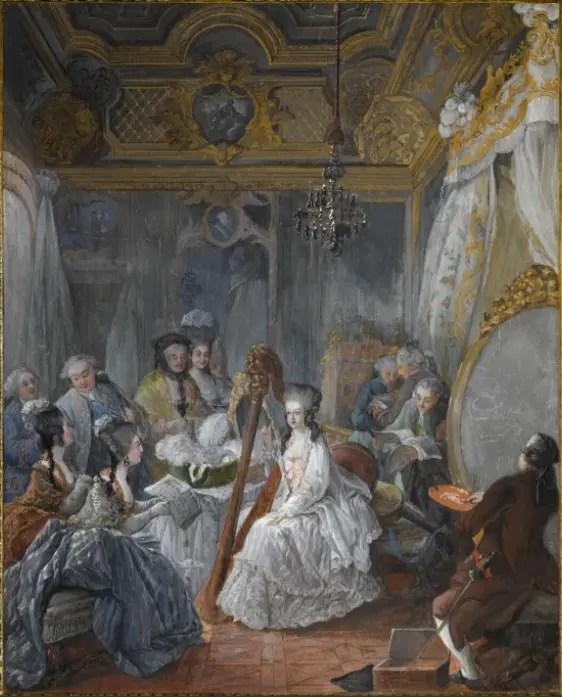 Marie-Antoinette jouant de la harpe, peinte par Jean-Baptiste Gauthier-Dagoty