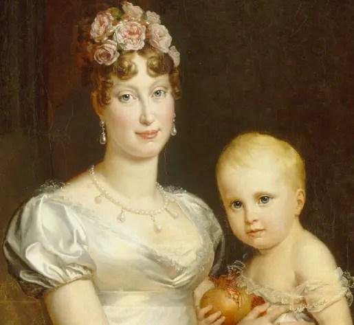 Détail du portrait de l'impératrice Marie-Louise avec son fils