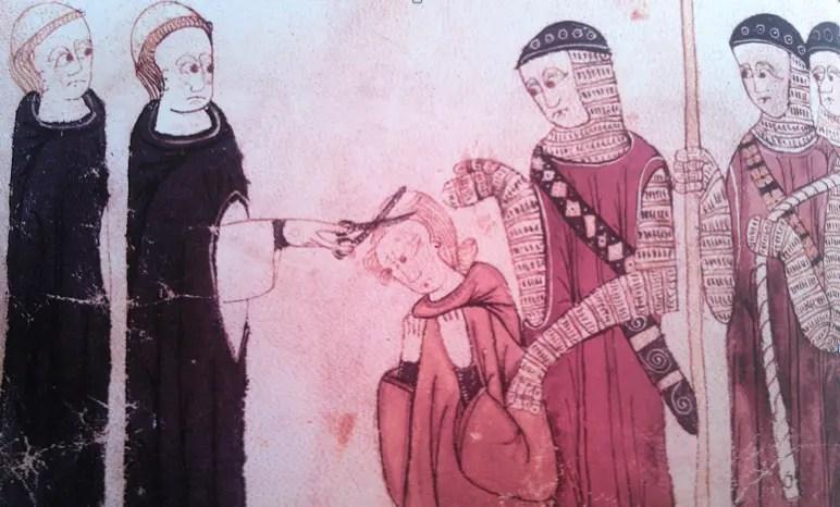 Marguerite de Bourgogne se voit infliger la tonsure des cheveux – Miniature du XIVème siècle