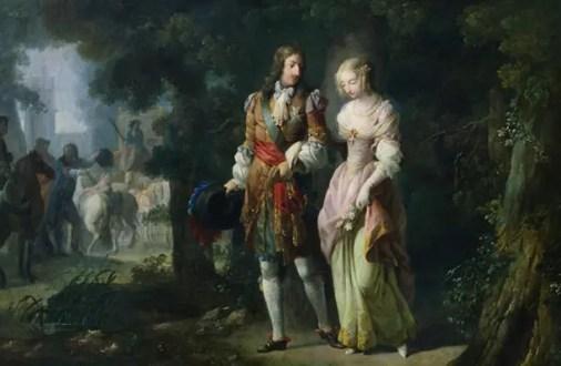 Portrait imaginaire de Louis XIV et Louise de La Valliere au Bois de Vincennes, par Jean-Frederic Schall