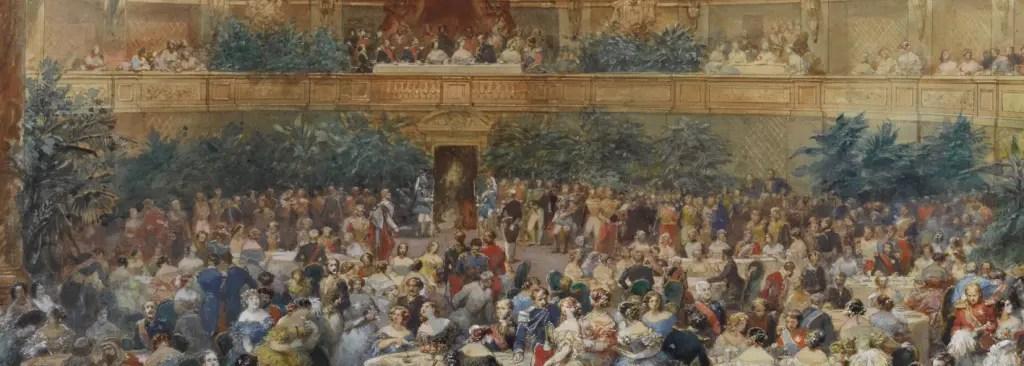 Souper offert par Napoléon III à la reine Victoria, 25 août 1855 - Dessin d'Eugène Lami conservé à Versailles