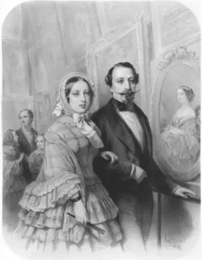 Victoria visite le Louvre en compagnie de l'Empereur - Aquarelle anonyme