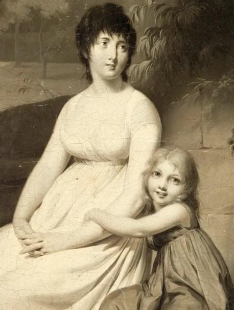 Portrait présumé de madame Tallien et de sa fille dans un parc par Louis Léopold Boilly