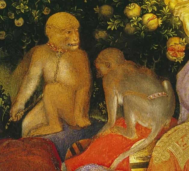 Gentile da Fabriano, Adoration des Mages (détail avec deux singes portant laisse et collier) 1423. Florence, Musée des Offices