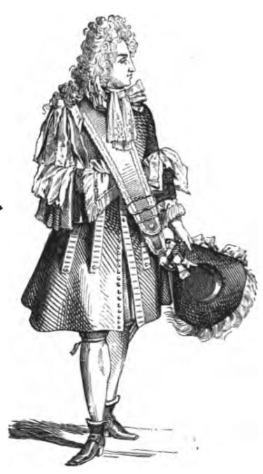 Gentilhomme à la mode de 1680 (gravure sur bois)