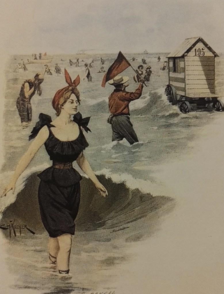 """""""Près des flots à Ostende"""", gravure colorée, 1897"""