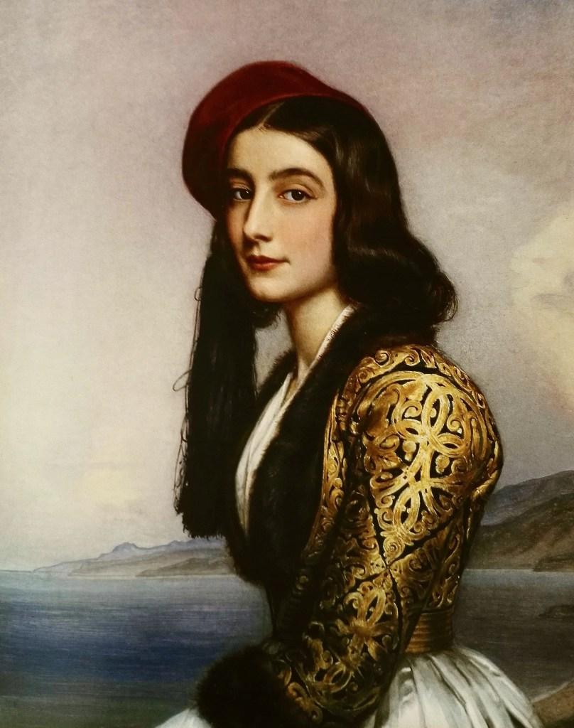 Katharina Botzaris - Portrait par Stieler en 1841 pour la Galerie des Beautés