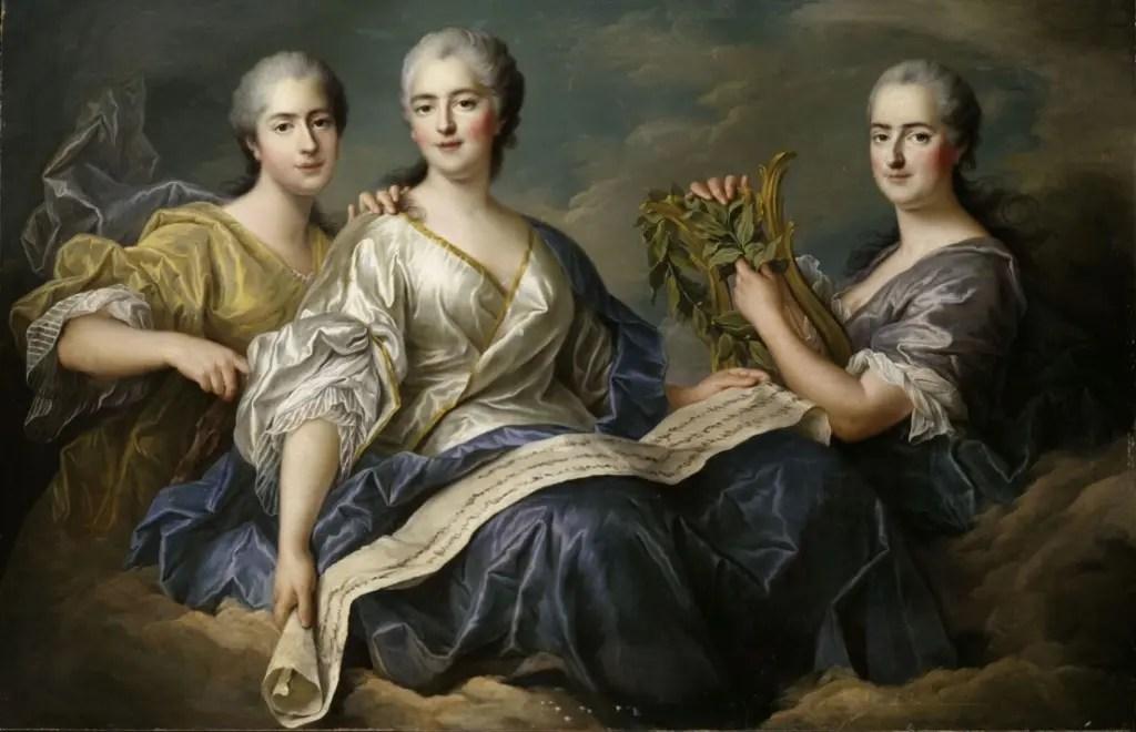 De gauche à droite : Adélaide, Victoire et Sophie, par Drouais - Collections du château de Versailles
