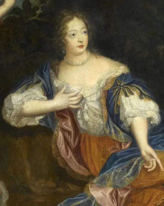 Détail d'une peinture anonyme représentant Athénaïs et ses enfants, collections du Musée du château de Versailles
