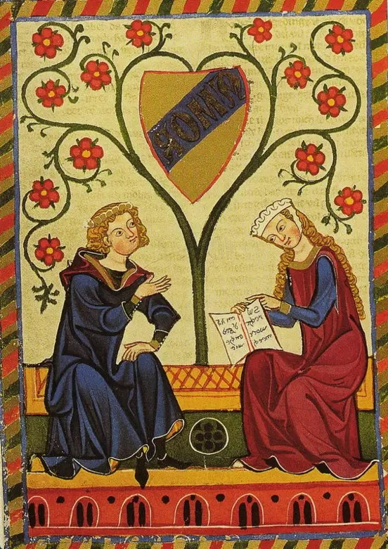 Enluminure représentant deux amants (la position assise signifie l'égalité)