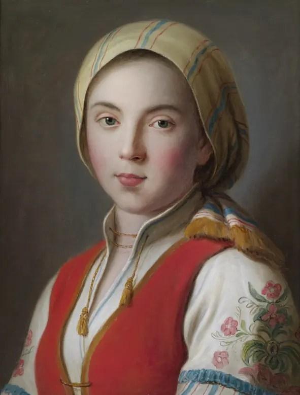 Jeune fille russe en costume de paysanne par Antonio Rotari