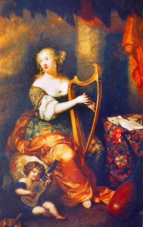 Madame de Montespan jouant de la harpe, par Caspar Netscher, 1671