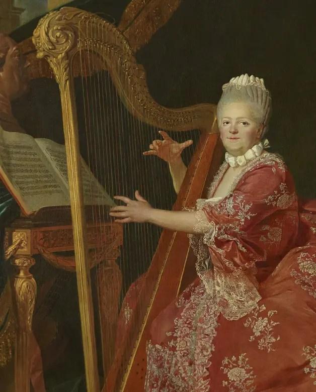 Madame Victoire jouant de la harpe, par Etienne Aubry en 1773 (détail) - château de Versailles, appartements de Mesdames