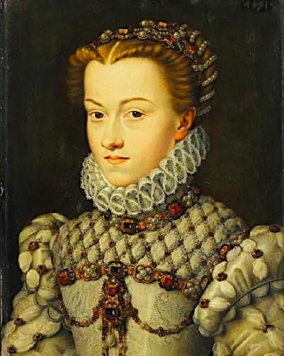 Portrait d'Elisabeth d'Autriche, épouse de Charles IX, d'après un dessin de François Clouet – Musée du Louvre