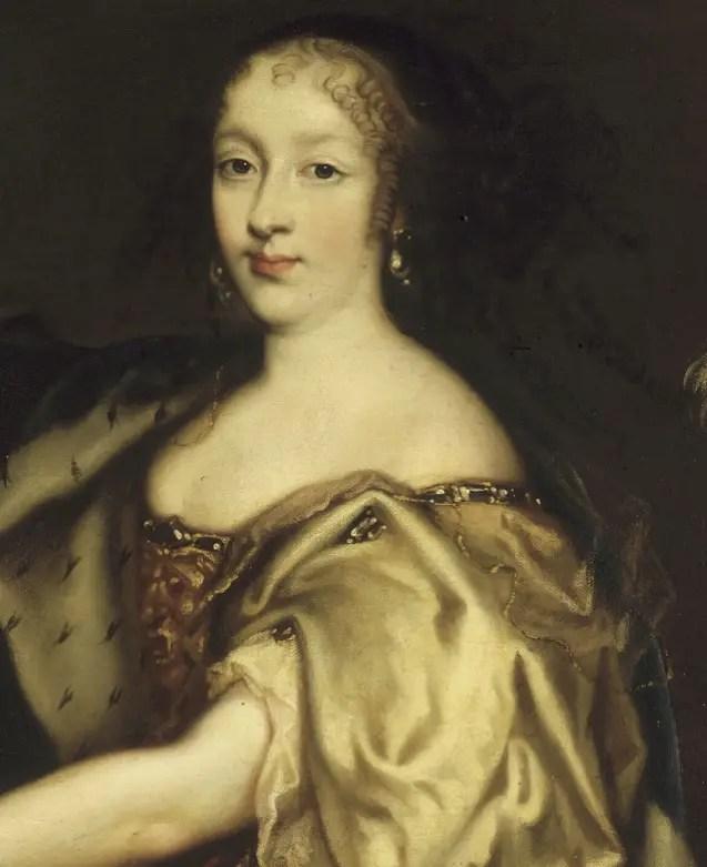 Détail d'un portrait d'Henriette-Anne en 1664 par Antoine le Père - Château de Versailles