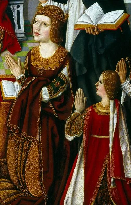 """Isabelle représentée avec sa mère la Reine Catholique sur le tableau """"La Vierge des Rois Catholiques"""" (détail), réalisé en 1490 et conservé au Musée du Prado."""