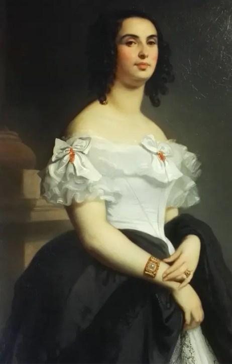 Adèle Foucher, mère d'Adèle Hugo, en 1839 par Louis Boulanger (maison de Victor Hugo, détail)