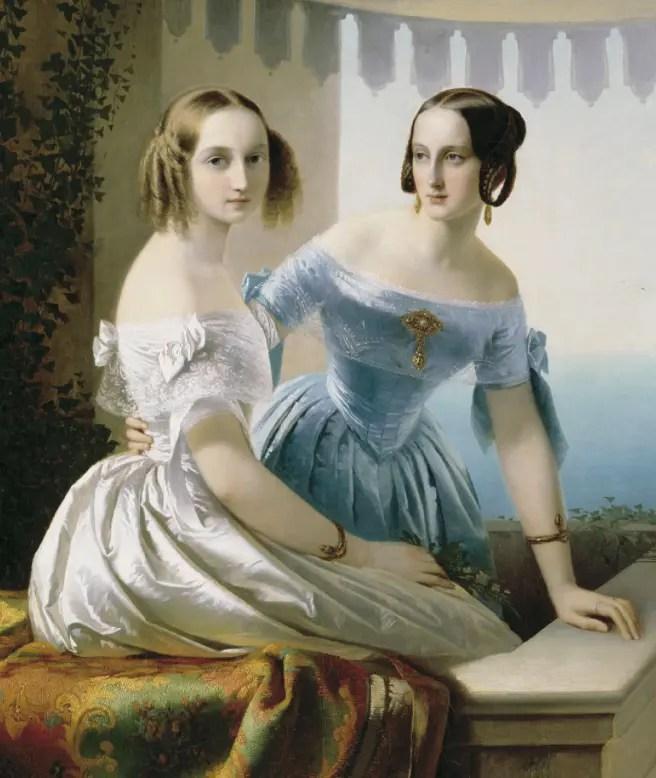 Les grandes-duchesses Olga (à gauche) et Marie (à  droite), peintes par Carl Timoleon von Neff (collection particulière)