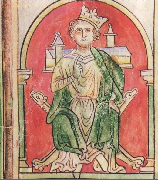 Jean sans Terre avec la couronne de travers (British Library, vers 1250)
