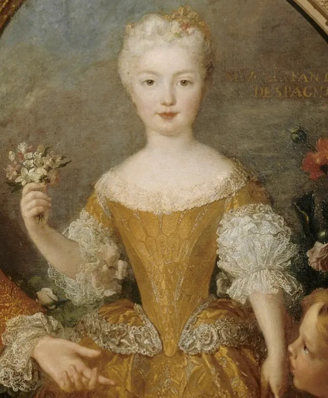 Détail d'un portrait représentant Louis XV et l'Infante Marie-Anne-Victoire par Simon Belle vers 1724 (Château de Versailles)