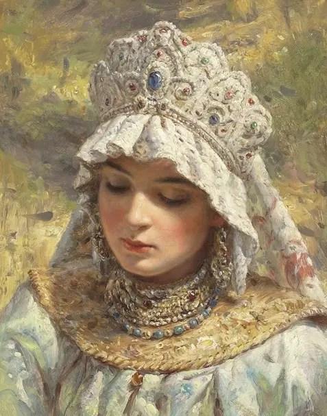 Peinture de Konstantin Makovsky (1839-1915). Il représente les beautés russes vêtues comme à l'époque d'Ivan le Terrible
