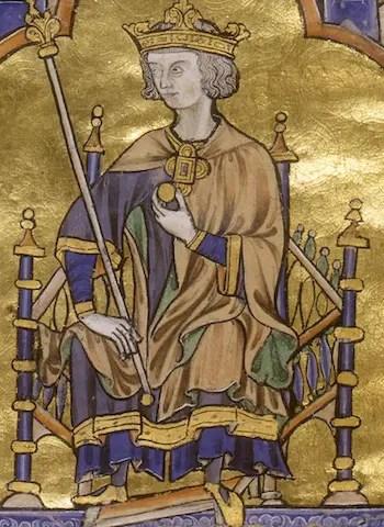Enluminure de la Bible de Saint-Louis, représentant Louis IX