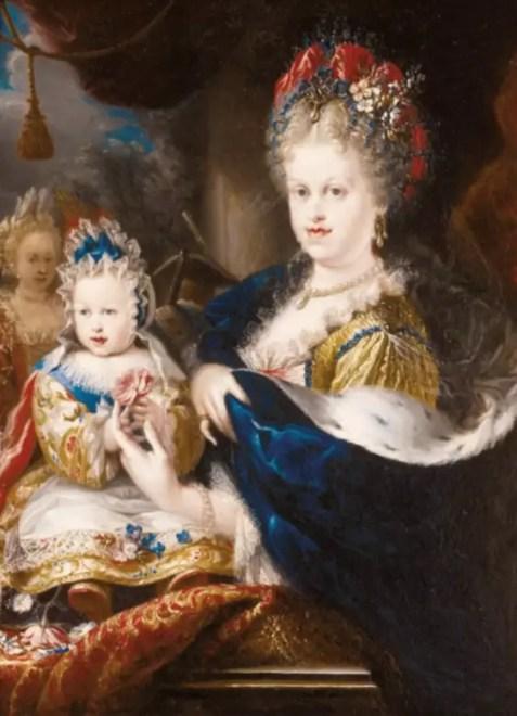 Marie-Louise avec son fils Louis, futur Louis Ier, par Melendez (au second plan on aperçoit la princesse des Ursins)