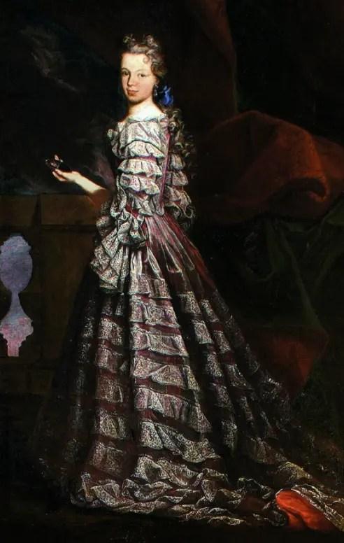 Marie Louise tenant une miniature de Phiippe V, par Maria Leuel (Saragosse)