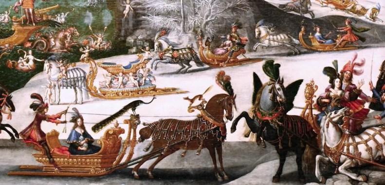 Claude Deruet, L'eau (détail) Représentation d'une fête royale illustrant les joies de la glace, pour une série de tableaux célébrant la gloire de la Monarchie commandée par Richelieu (Musée des Beaux-Arts d'Orléans)