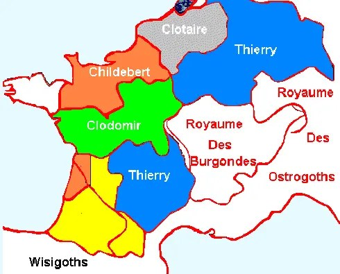 Le partage du royaume de Clovis entre ses 4 fils