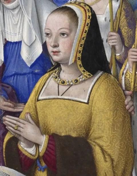 Anne de Bretagne par Jean Bourdichon (détail d'une miniature issue des Grandes Heures d'Anne de Bretagne (1503/1508 - BNF)