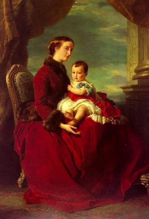 L'Impératrice Eugénie et son fils le prince impérial peints par Winterhalter en 1857
