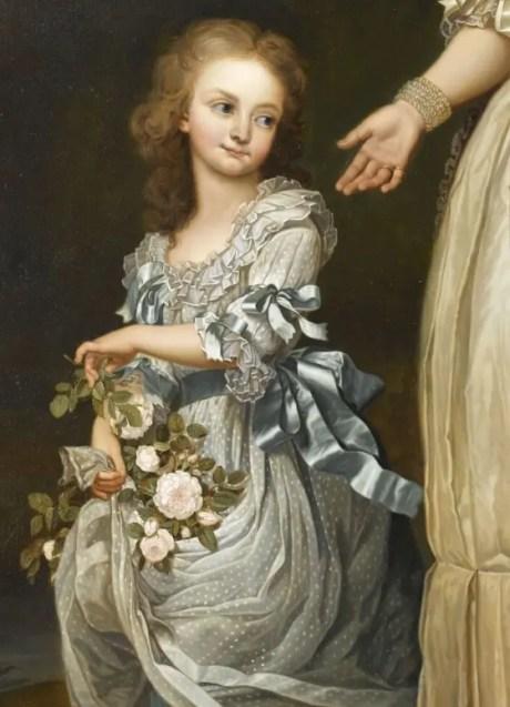 Marie-Thérèse de Bourbon, dite Madame Royale. Copie d'un portrait de Wertmüller où l'on voit la Reine entourée de ses deux aînés, réalisé par Eugène Battaillé en 1868-pour l'Impératrice Eugénie