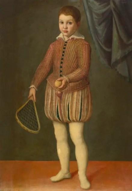 Portrait d'un garçon tenant une raquette et une balle (cercle d'Anguissola, 1555 environ)