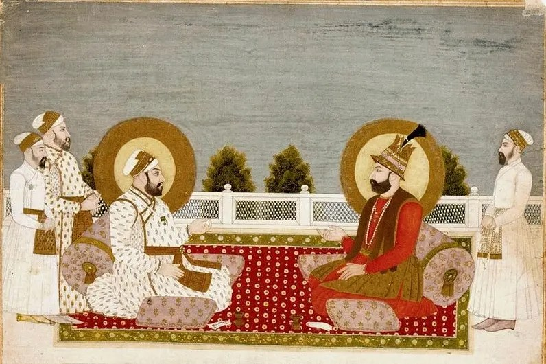 Nadir Shah échangeant son turban avec Mohamed Shah (enluminure indienne, 1740, Musée Guimet)