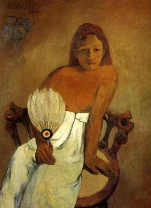 Jeune fille a l'éventail représentant la belle rousse Tohotaua (1902)