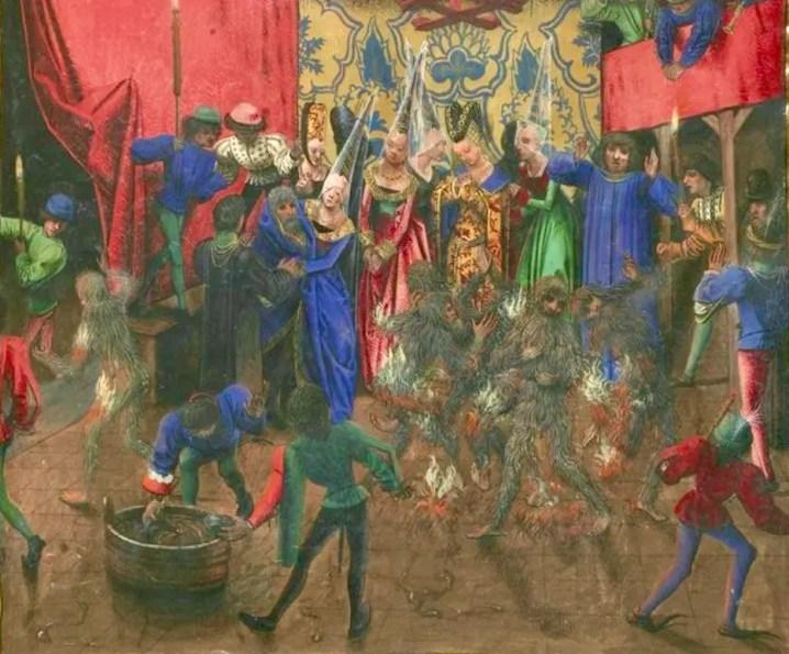 Miniature enluminée représentant le Bal des ardents dans les Chroniques de Jean Froissart (Gallica BNF)