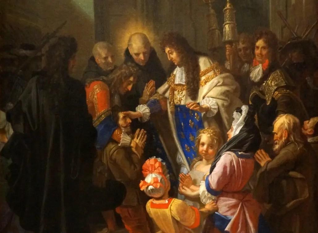 Louis XIV touchant les écrouelles, par Jean Jouvenet en 1690 (Eglise abbatiale de Saint-Riquier dans la Somme)
