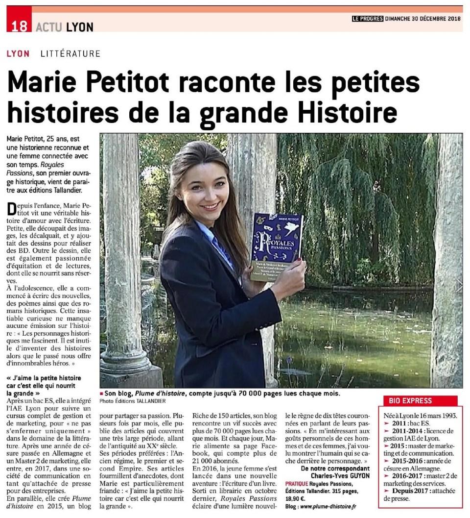 Article Le Progres Royales Passions