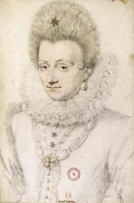 Gabrielle vers 1599 pierre noire et sanguine par Daniel Dumoutier