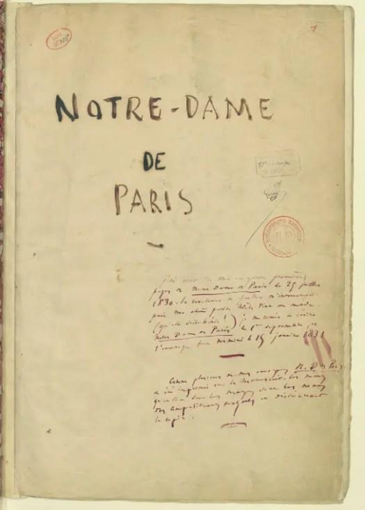 Manuscrit de Notre-Dame de Paris - Gallica BNF