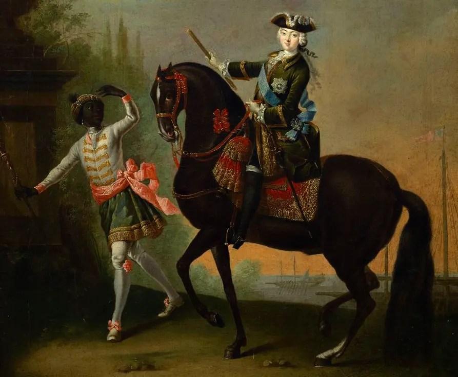 Portrait équestre d'Elisabeth Ière par Lucas Conrad Pfandzeit (elle sait que cet accoutrement lui va à ravir !) - 1757 - State Russian Museum