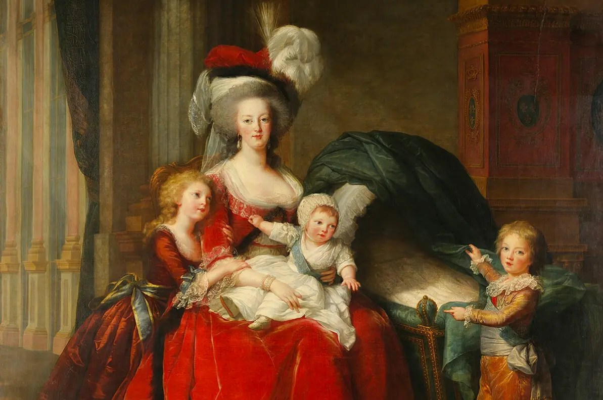 Marie-Antoinette et ses enfants en 1787 par Elisabeth Vigée-Lebrun - La petite Sophie a été effacée de son berceau, la vue de sa fille morte affectait trop Marie-Antoinette...