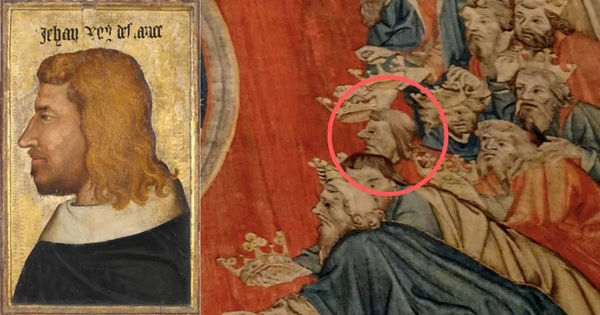 """À gauche : le portrait du roi Jean II le Bon par un anonyme - Musée du Louvre. À droite : sa représentation très probable sur la tenture de l'Apocalypse, dans le panneau """"Les vieillards se prosternent""""."""