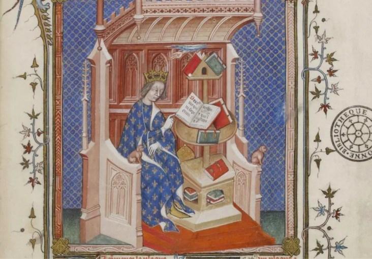 Charles V dans sa librairie, frontispice (détail), Policraticus par Jean de Salisbury - BNF